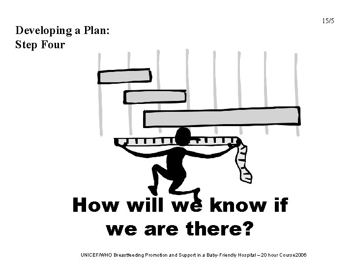 Developing a Plan: Step Four How will we know if we are there? UNICEF/WHO