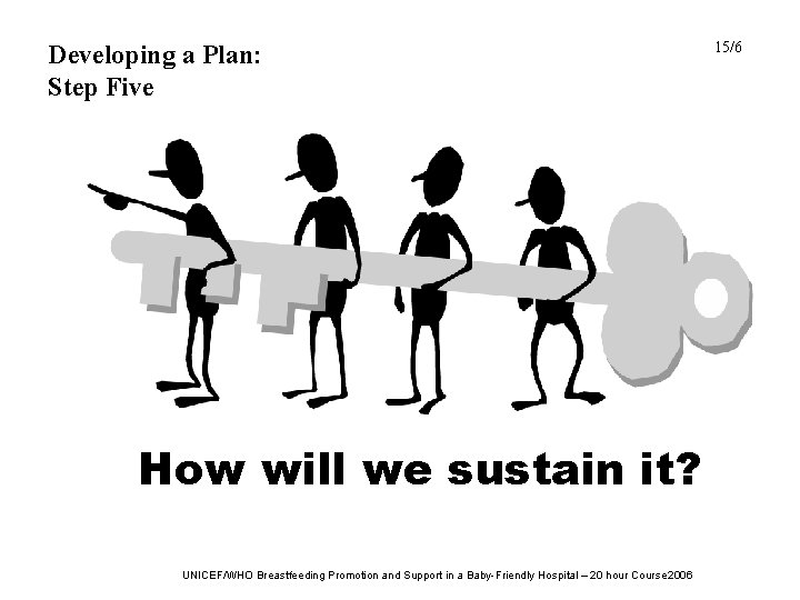 Developing a Plan: Step Five How will we sustain it? UNICEF/WHO Breastfeeding Promotion and