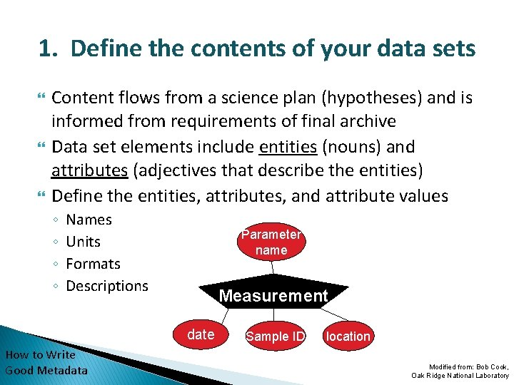 1. Define the contents of your data sets Content flows from a science plan