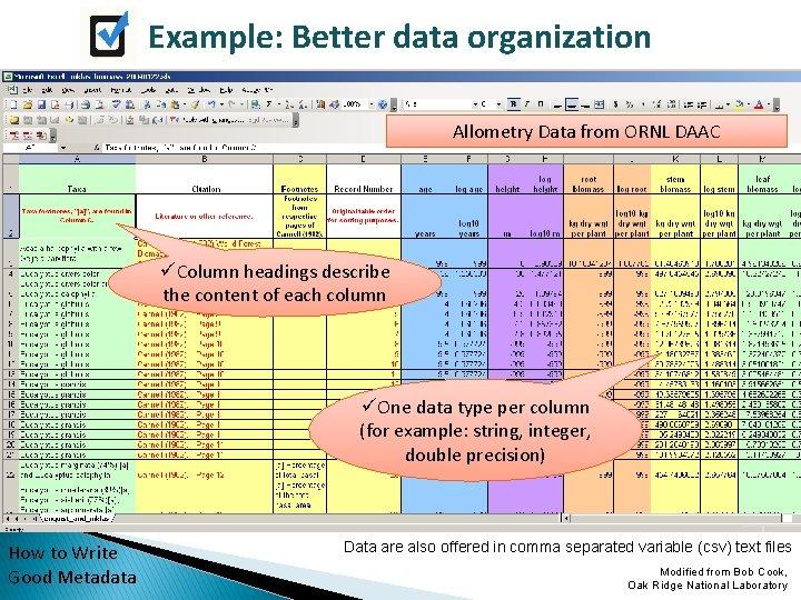 Example: Better data organization Allometry Data from ORNL DAAC üColumn headings describe the content