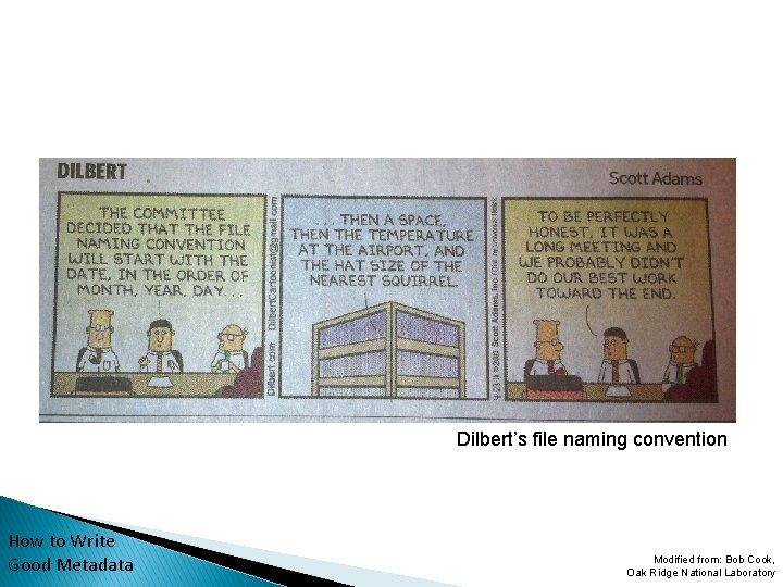Dilbert's file naming convention How to Write Good Metadata Modified from: Bob Cook, Oak