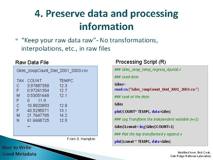 """4. Preserve data and processing information """"Keep your raw data raw""""- No transformations, interpolations,"""