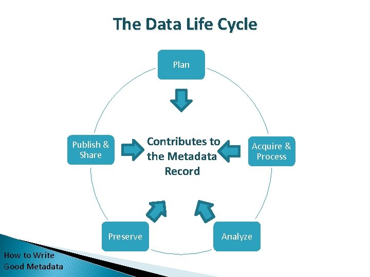 The Data Life Cycle Plan Publish & Share Preserve How to Write Good Metadata