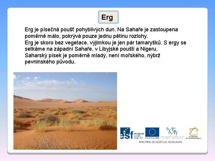 Erg je písečná poušť pohyblivých dun. Na Sahaře je zastoupena poměrně málo, pokrývá pouze