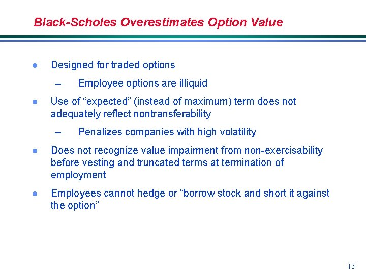 Black-Scholes Overestimates Option Value l Designed for traded options – l Employee options are