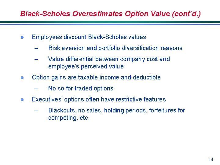Black-Scholes Overestimates Option Value (cont'd. ) l l Employees discount Black-Scholes values – Risk