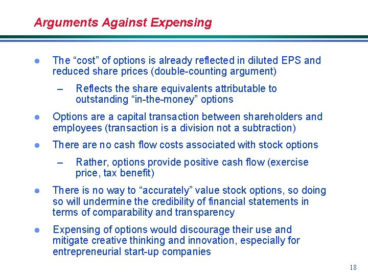 """Arguments Against Expensing l The """"cost"""" of options is already reflected in diluted EPS"""