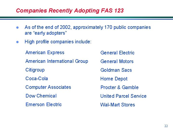 Companies Recently Adopting FAS 123 l As of the end of 2002, approximately 170