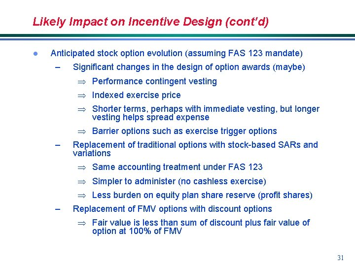 Likely Impact on Incentive Design (cont'd) l Anticipated stock option evolution (assuming FAS 123