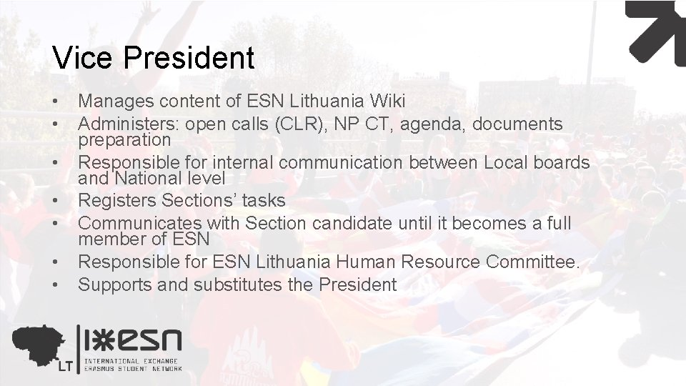 Vice President • • Manages content of ESN Lithuania Wiki Administers: open calls (CLR),