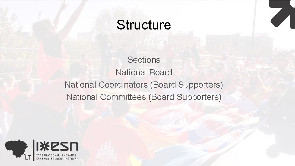Structure Sections National Board National Coordinators (Board Supporters) National Committees (Board Supporters)