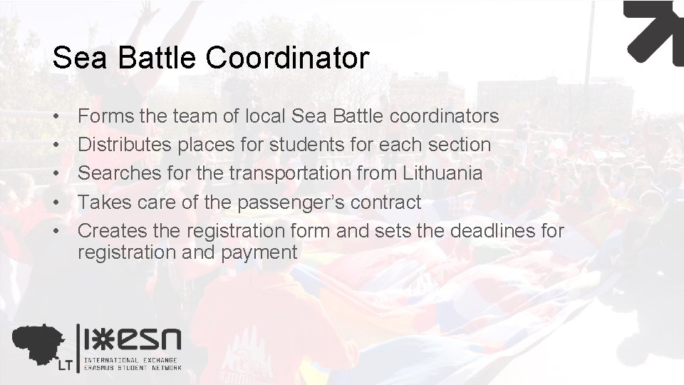 Sea Battle Coordinator • • • Forms the team of local Sea Battle coordinators