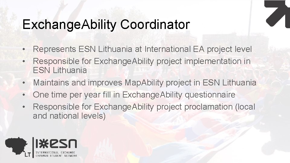 Exchange. Ability Coordinator • Represents ESN Lithuania at International EA project level • Responsible