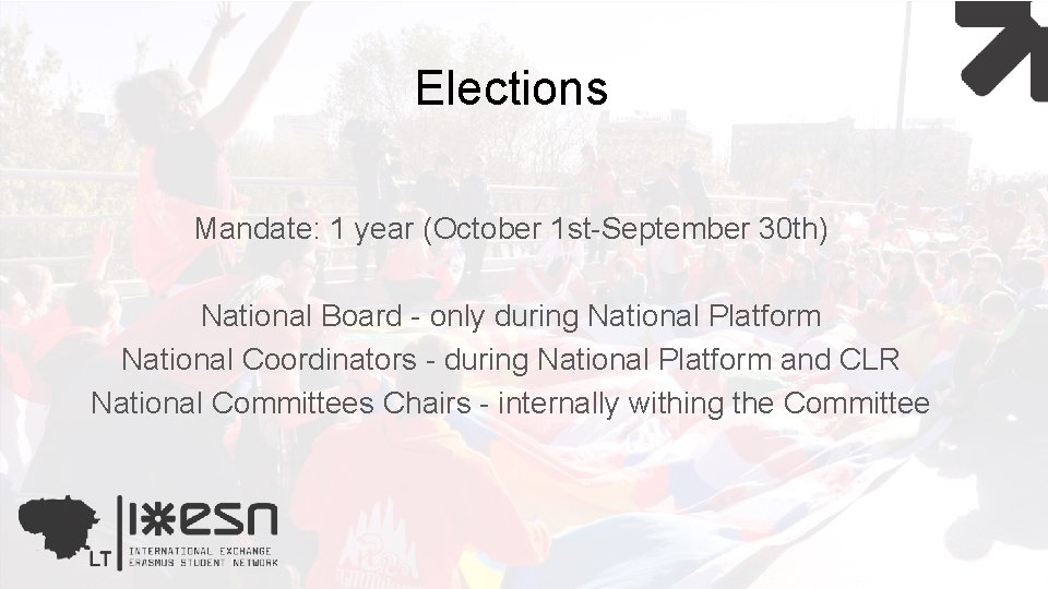 Elections Mandate: 1 year (October 1 st-September 30 th) National Board - only during