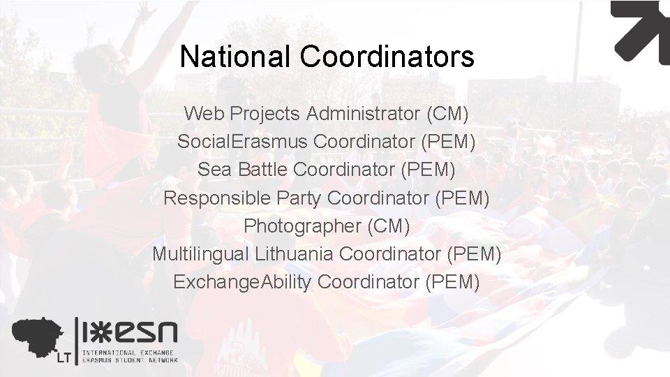National Coordinators Web Projects Administrator (CM) Social. Erasmus Coordinator (PEM) Sea Battle Coordinator (PEM)