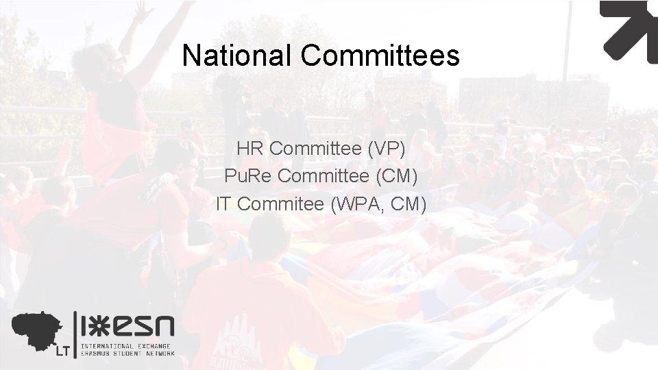 National Committees HR Committee (VP) Pu. Re Committee (CM) IT Commitee (WPA, CM)