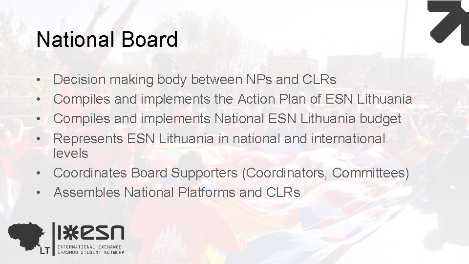 National Board • • Decision making body between NPs and CLRs Compiles and implements