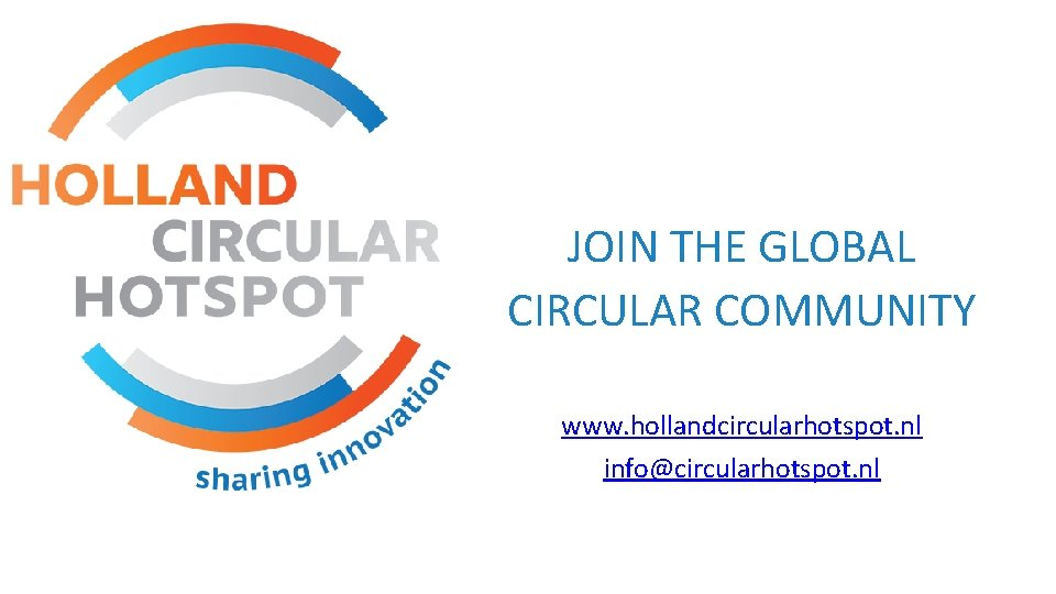 JOIN THE GLOBAL CIRCULAR COMMUNITY www. hollandcircularhotspot. nl info@circularhotspot. nl