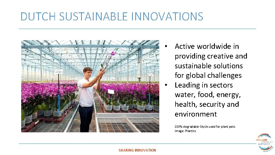 DUTCH SUSTAINABLE INNOVATIONS • Active worldwide in providing creative and sustainable solutions for global