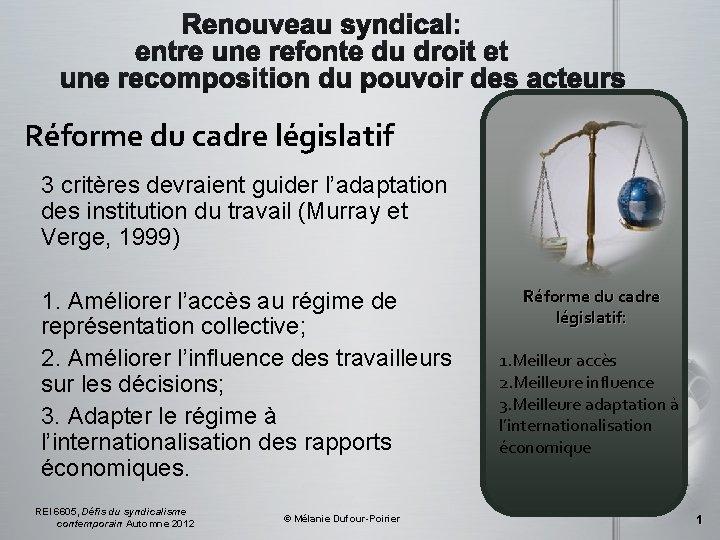 Réforme du cadre législatif 3 critères devraient guider l'adaptation des institution du travail (Murray