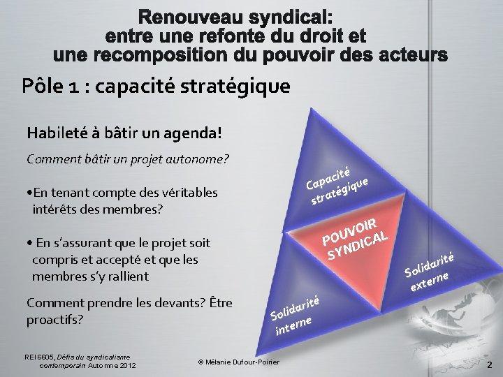 Pôle 1 : capacité stratégique Habileté à bâtir un agenda! Comment bâtir un projet