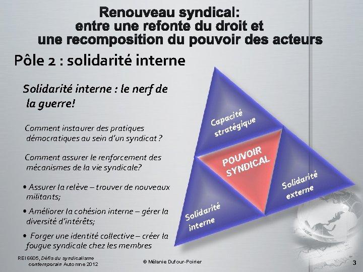 Pôle 2 : solidarité interne Solidarité interne : le nerf de la guerre! ité