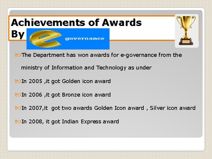 Achievements of Awards By E-Governance The Department has won awards for e-governance from the