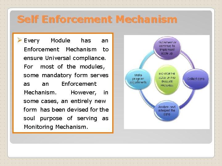 Self Enforcement Mechanism Ø Every Module has an Enforcement Mechanism to ensure Universal compliance.