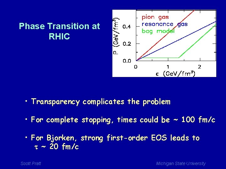Phase Transition at RHIC • Transparency complicates the problem • For complete stopping, times