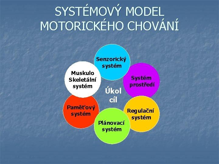 SYSTÉMOVÝ MODEL MOTORICKÉHO CHOVÁNÍ Senzorický systém Muskulo Skeletální systém Úkol cíl Paměťový systém Plánovací