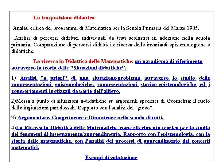 La trasposizione didattica: Analisi critica dei programmi di Matematica per la Scuola Primaria del