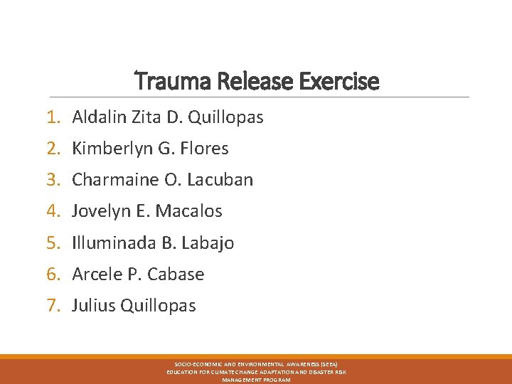Trauma Release Exercise 1. Aldalin Zita D. Quillopas 2. Kimberlyn G. Flores 3. Charmaine