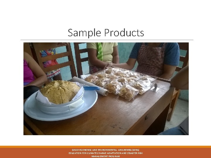 Sample Products SOCIO-ECONOMIC AND ENVIRONMENTAL AWARENESS (SEEA) EDUCATION FOR CLIMATE CHANGE ADAPTATION AND DISASTER