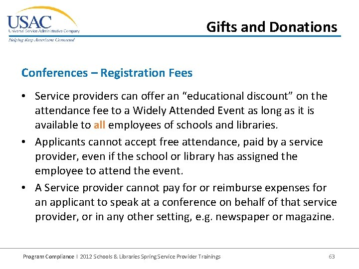 """Gifts and Donations Conferences – Registration Fees • Service providers can offer an """"educational"""