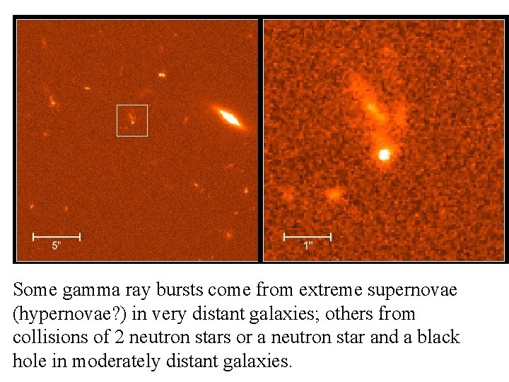 Some gamma ray bursts come from extreme supernovae (hypernovae? ) in very distant galaxies;
