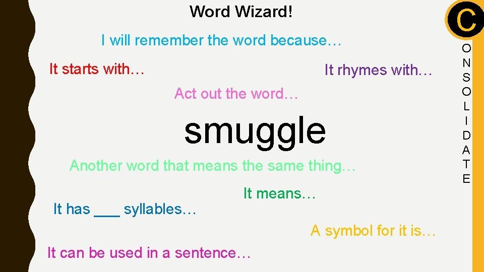 Word Wizard! I will remember the word because… It starts with… It rhymes with…