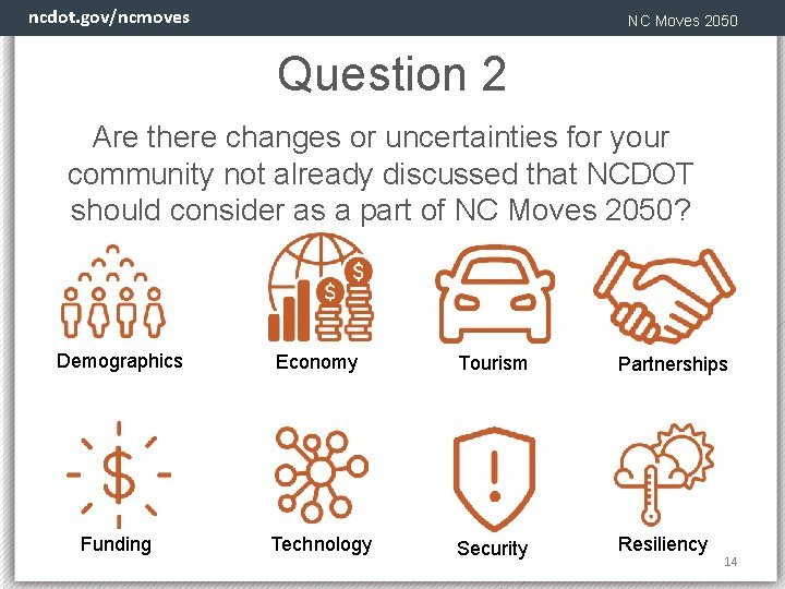 ncdot. gov/ncmoves NC Moves 2050 Question 2 Are there changes or uncertainties for your