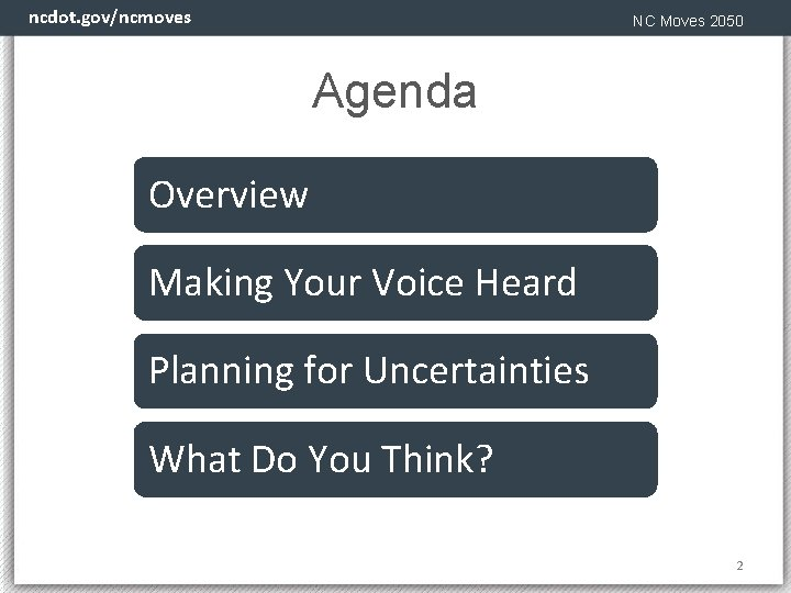 ncdot. gov/ncmoves NC Moves 2050 Agenda Overview Making Your Voice Heard Planning for Uncertainties