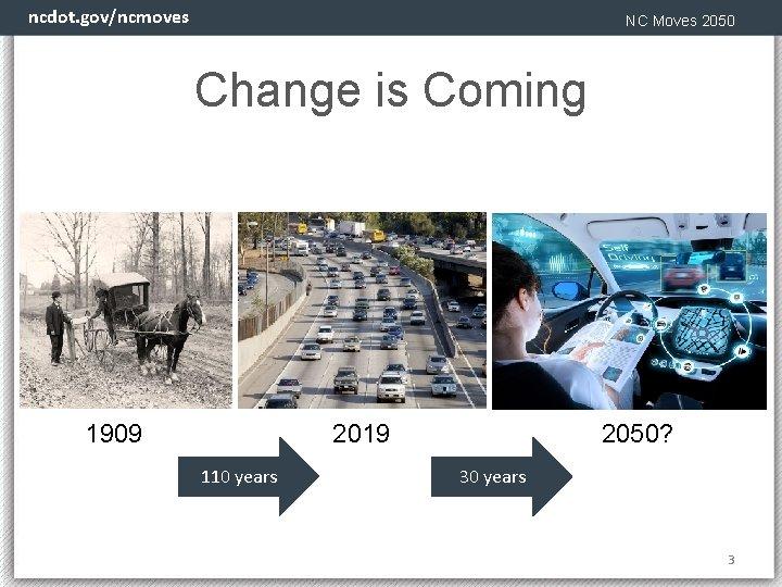 ncdot. gov/ncmoves NC Moves 2050 Change is Coming 1909 2050? 2019 110 years 3