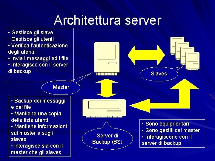 Architettura server • Gestisce gli slave • Gestisce gli utenti • Verifica l'autenticazione degli