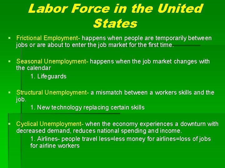 Labor Force in the United States § Frictional Employment- happens when people are temporarily