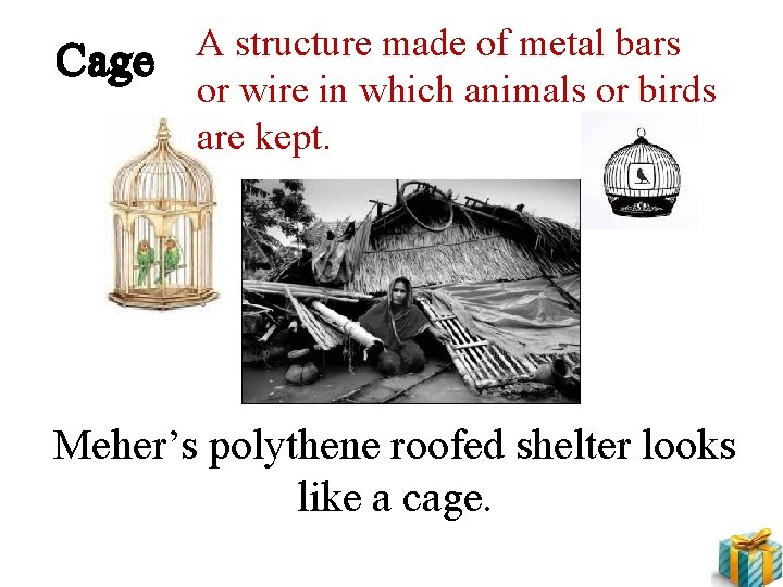 Cage A structure made of metal bars or wire in which animals or birds