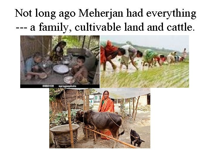Not long ago Meherjan had everything --- a family, cultivable land cattle.