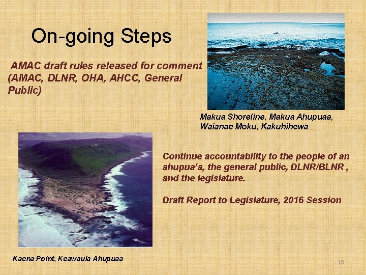 On-going Steps AMAC draft rules released for comment (AMAC, DLNR, OHA, AHCC, General Public)