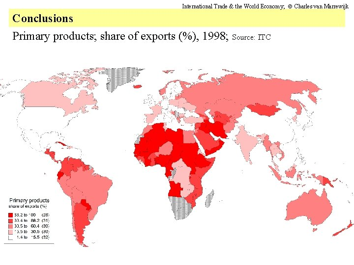 International Trade & the World Economy; Charles van Marrewijk Conclusions Primary products; share of