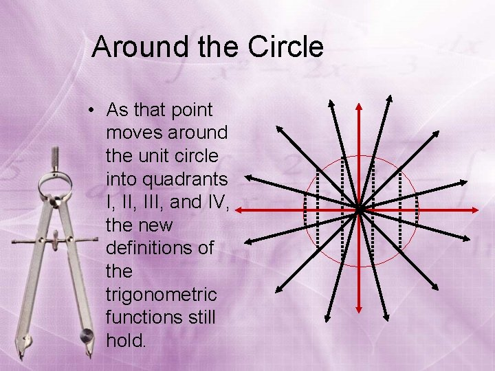 Around the Circle • As that point moves around the unit circle into quadrants