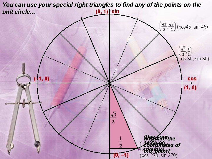 You can use your special right triangles to find any of the points on