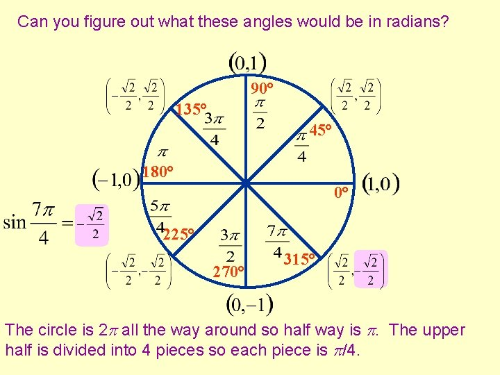 Can you figure out what these angles would be in radians? 90° 135° 45°