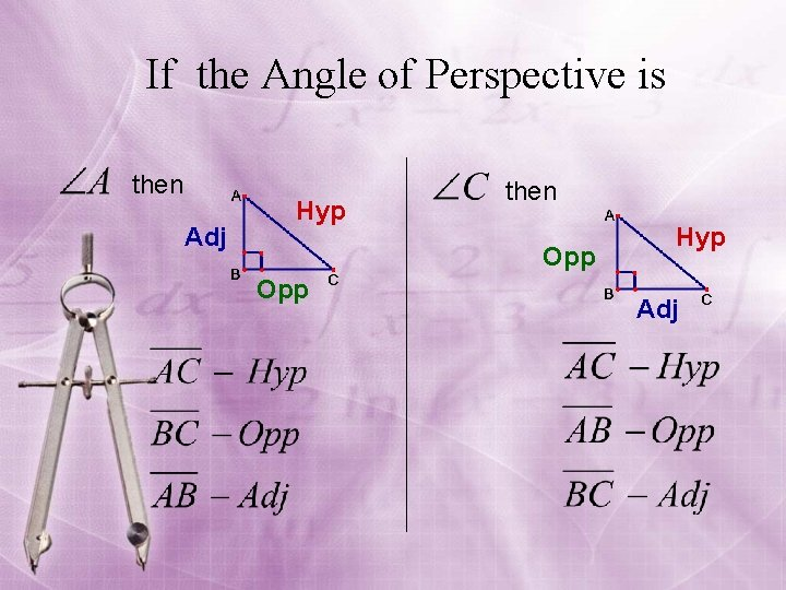 If the Angle of Perspective is then Adj Hyp then Opp Hyp Adj
