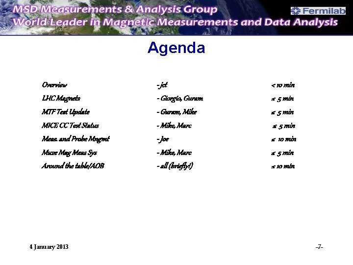 Agenda Overview LHC Magnets MTF Test Update MICE CC Test Status Meas. and Probe
